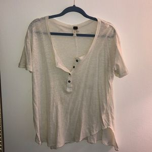 Free People loose scoop neck tee with buttons